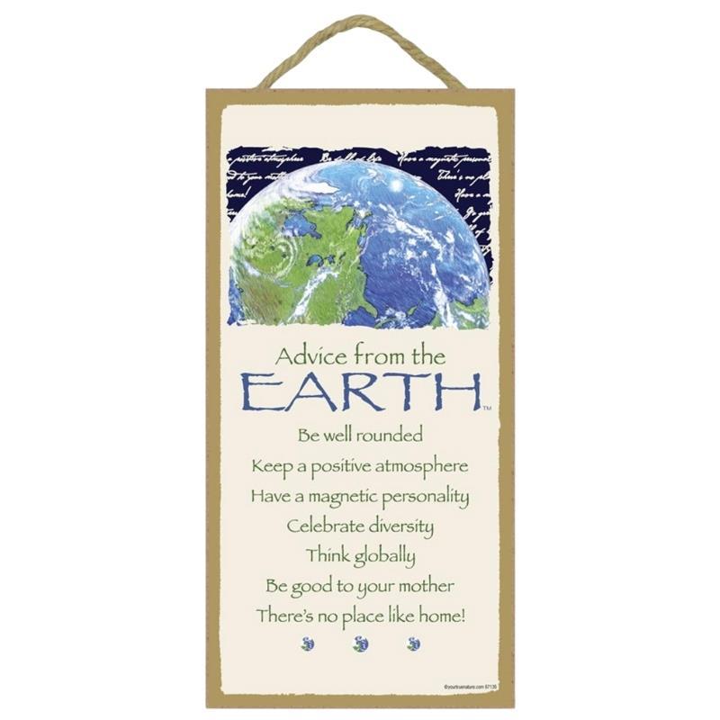 ADVICE EARTH WOOD SIGN