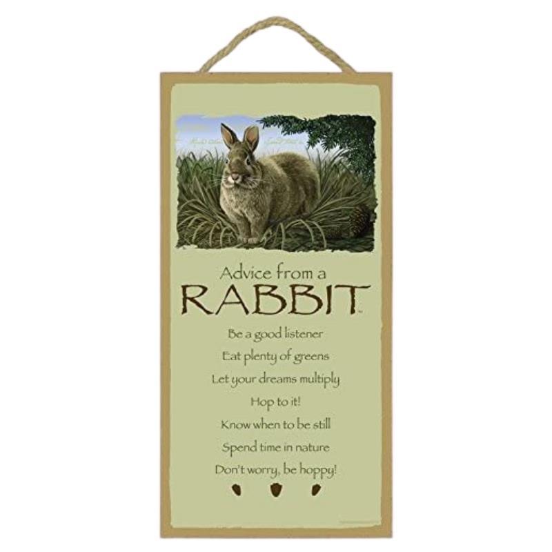 ADVICE RABBIT WOOD SIGN