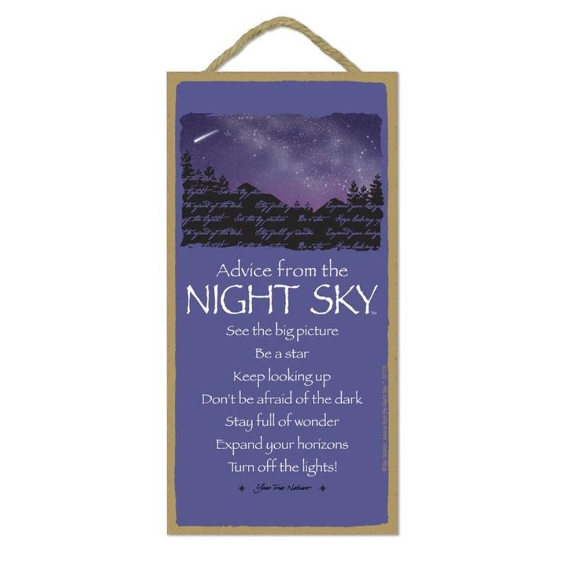 ADVICE NIGHT SKY WOOD SIGN