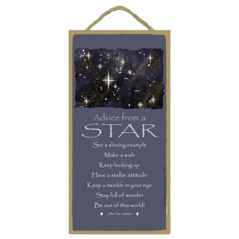 ADVICE STAR WOOD SIGN